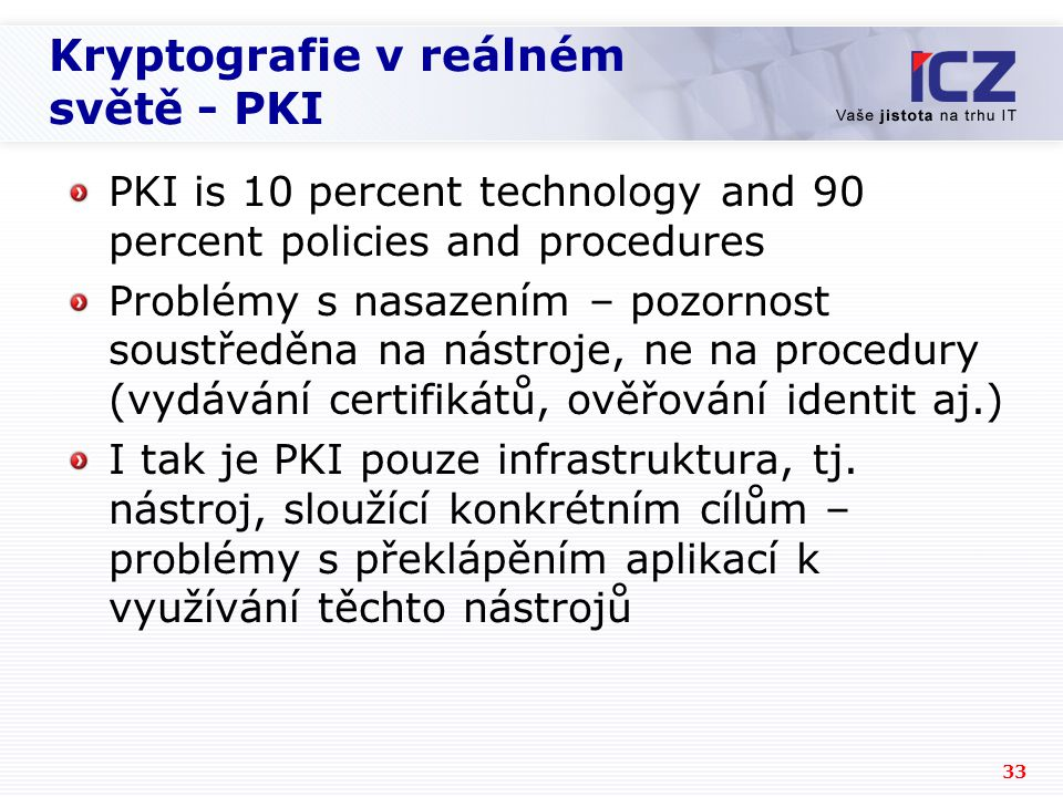 Kryptografie v reálném světě - PKI