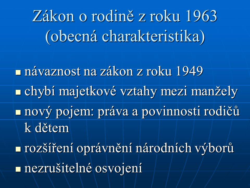 Zákon o rodině z roku 1963 (obecná charakteristika)