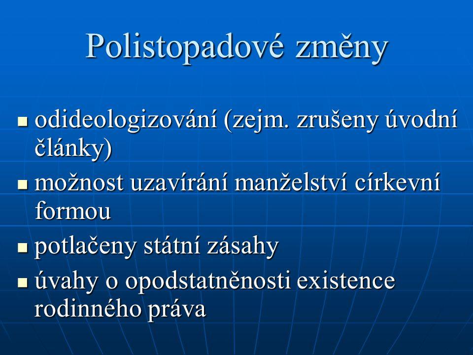 Polistopadové změny odideologizování (zejm. zrušeny úvodní články)
