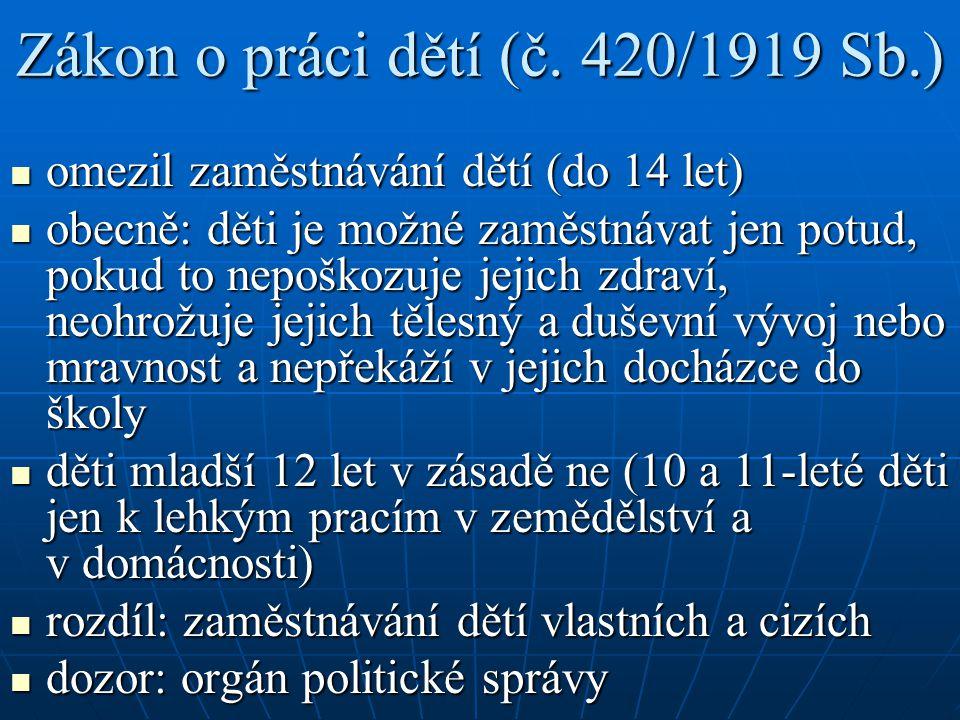 Zákon o práci dětí (č. 420/1919 Sb.)
