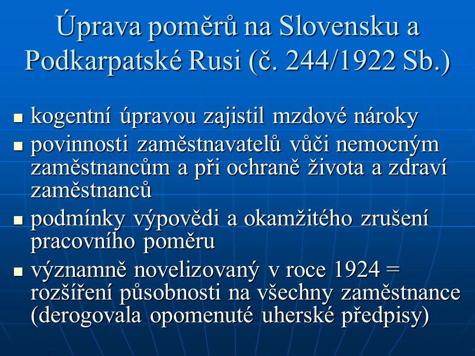 Úprava poměrů na Slovensku a Podkarpatské Rusi (č. 244/1922 Sb.)
