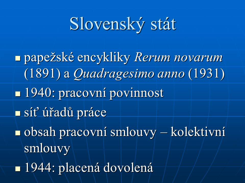 Slovenský stát papežské encykliky Rerum novarum (1891) a Quadragesimo anno (1931) 1940: pracovní povinnost.