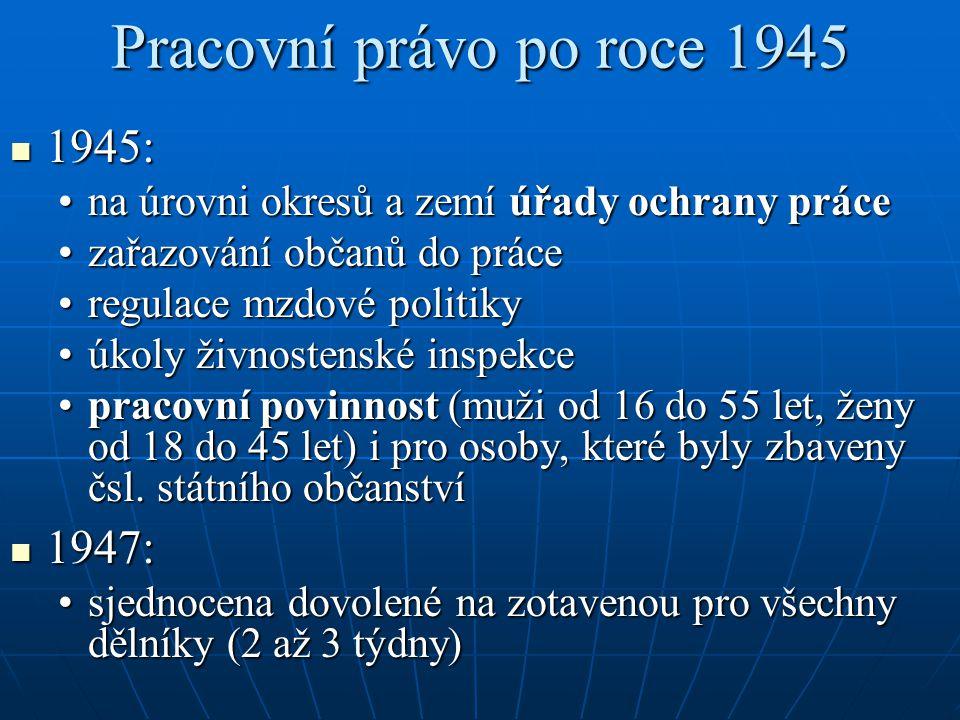 Pracovní právo po roce 1945 1945: 1947: