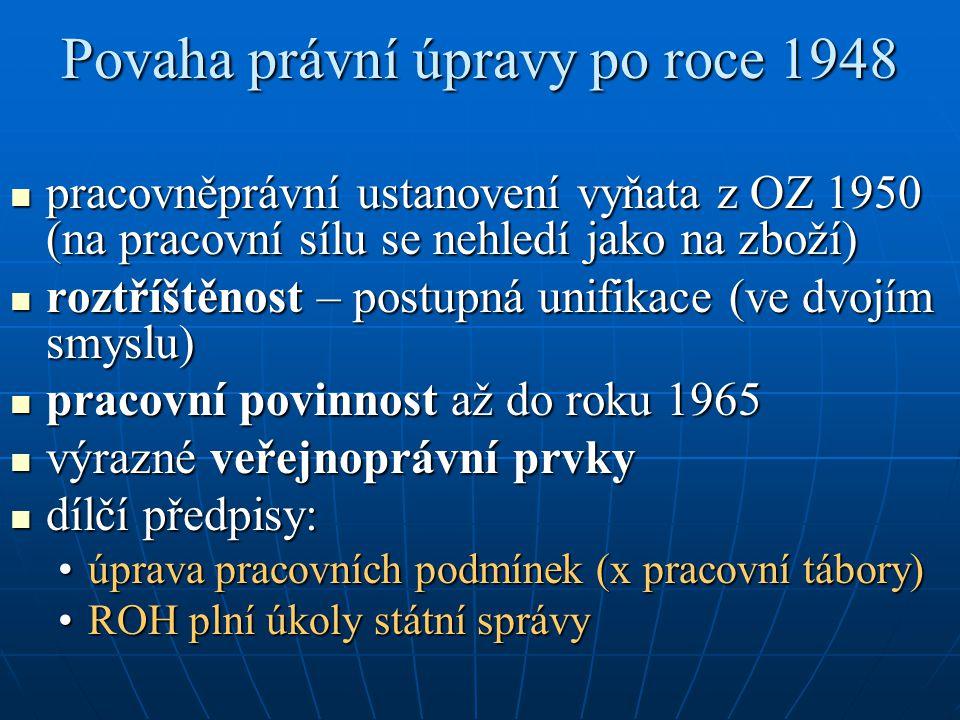 Povaha právní úpravy po roce 1948