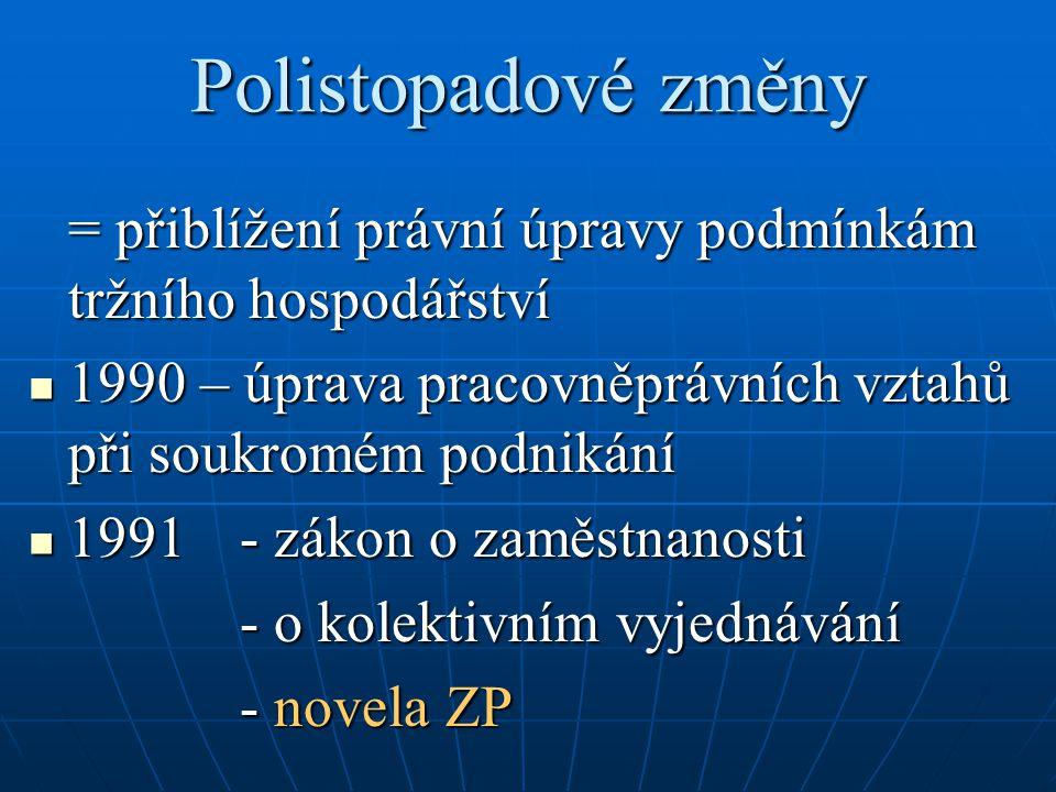Polistopadové změny = přiblížení právní úpravy podmínkám tržního hospodářství. 1990 – úprava pracovněprávních vztahů při soukromém podnikání.