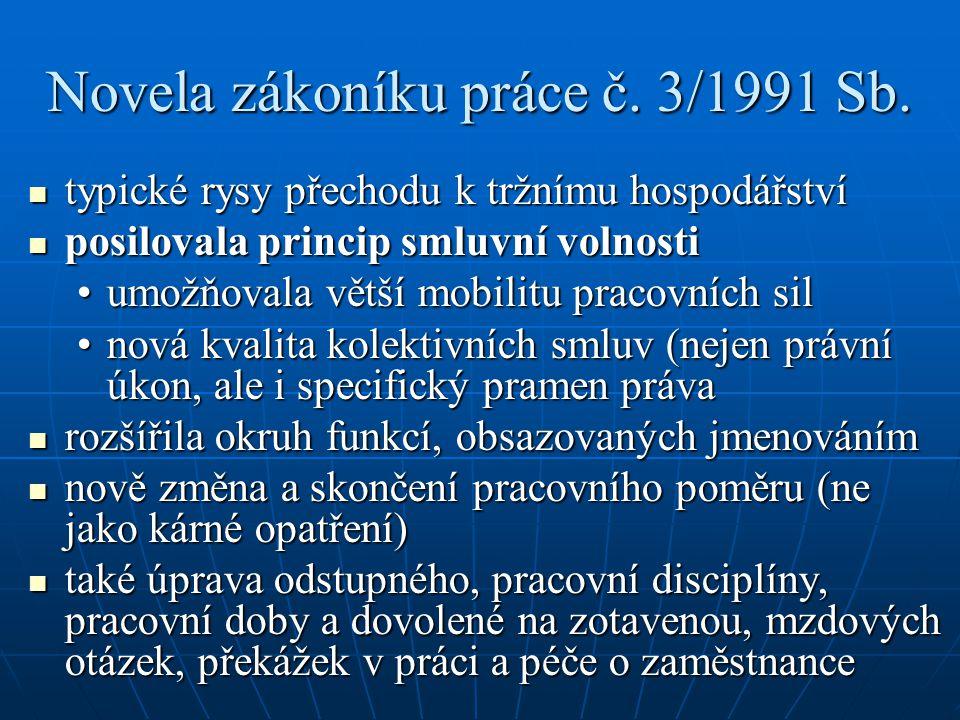 Novela zákoníku práce č. 3/1991 Sb.
