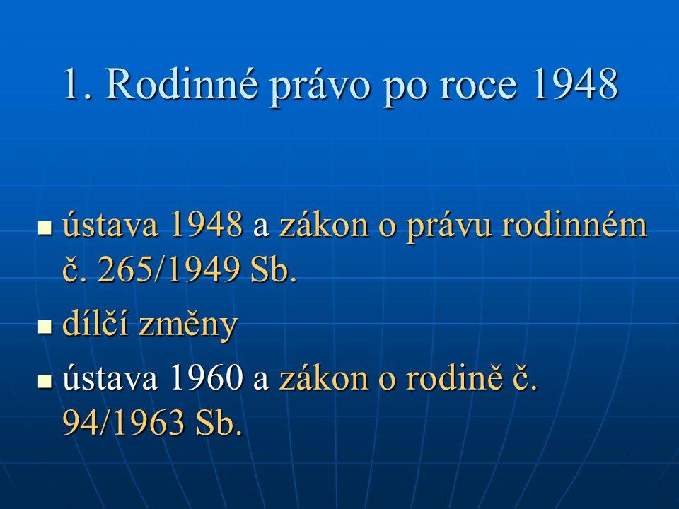 1. Rodinné právo po roce 1948 ústava 1948 a zákon o právu rodinném č.