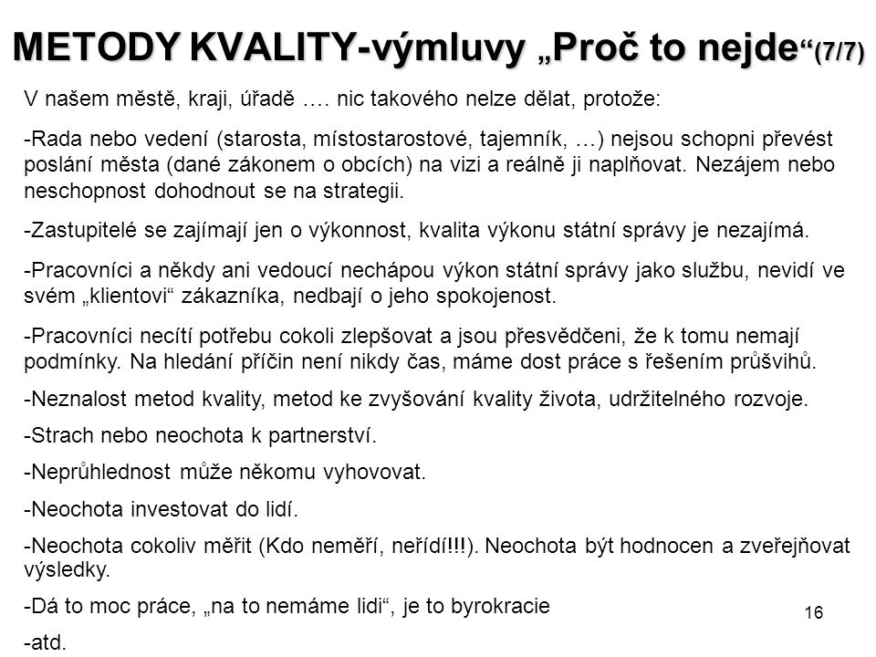 """METODY KVALITY- výmluvy """"Proč to nejde (7/7)"""