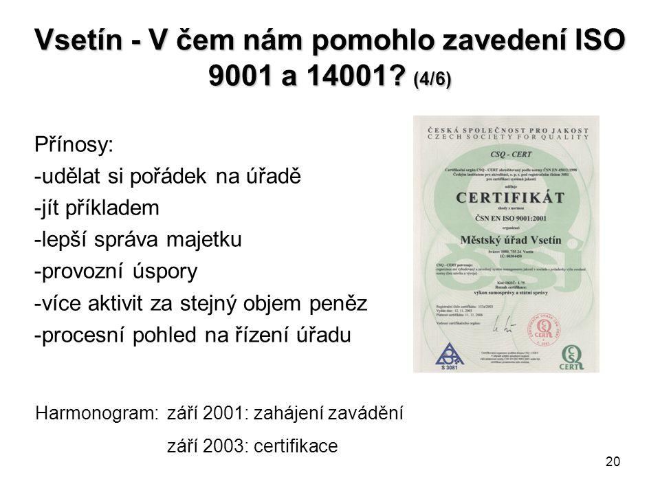 Vsetín - V čem nám pomohlo zavedení ISO 9001 a 14001 (4/6)