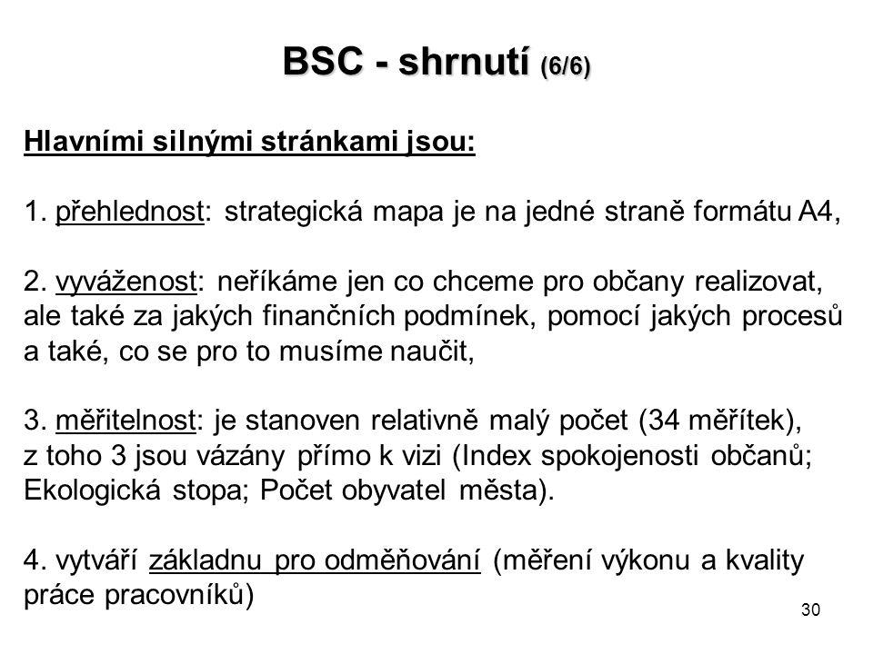 BSC - shrnutí (6/6) Hlavními silnými stránkami jsou: