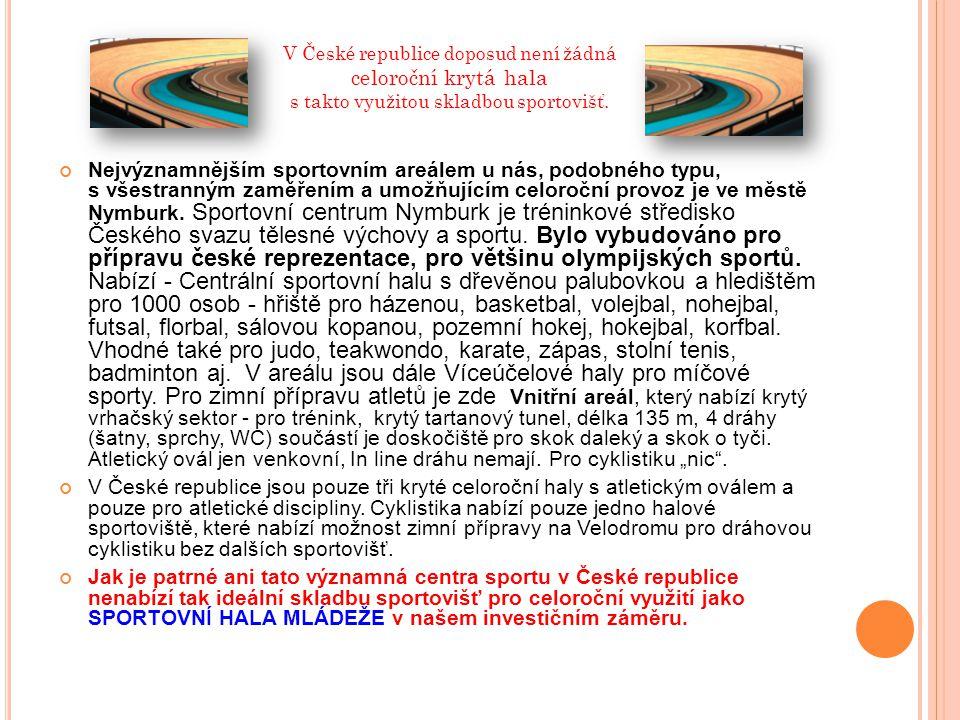 V České republice doposud není žádná celoroční krytá hala s takto využitou skladbou sportovišť.
