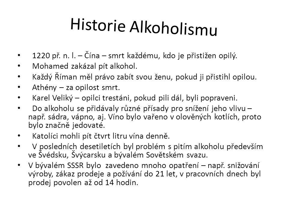 Historie Alkoholismu 1220 př. n. l. – Čína – smrt každému, kdo je přistižen opilý. Mohamed zakázal pít alkohol.