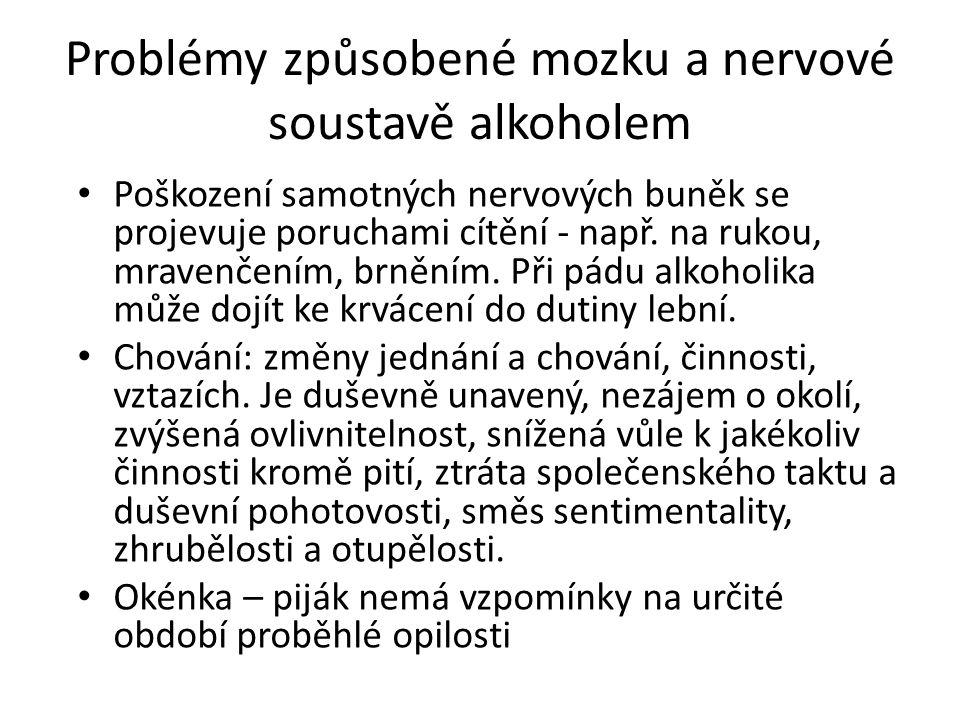 Problémy způsobené mozku a nervové soustavě alkoholem