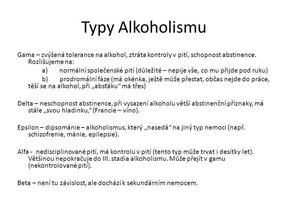 Typy Alkoholismu Gama – zvýšená tolerance na alkohol, ztráta kontroly v pití, schopnost abstinence. Rozlišujeme na: