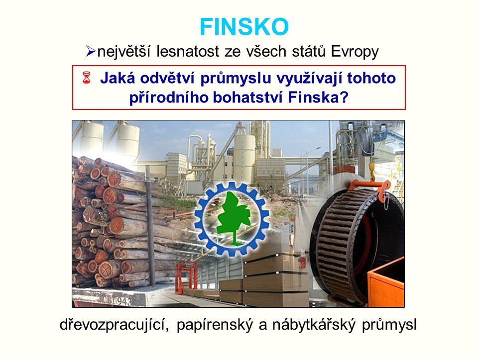  Jaká odvětví průmyslu využívají tohoto přírodního bohatství Finska