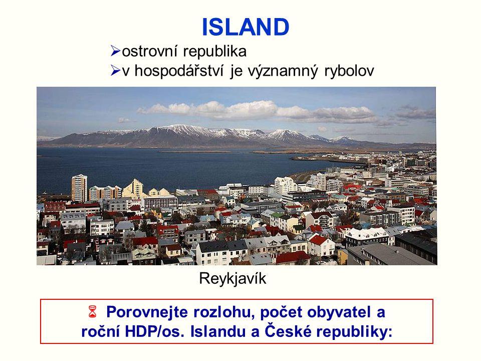 ISLAND ostrovní republika v hospodářství je významný rybolov Reykjavík