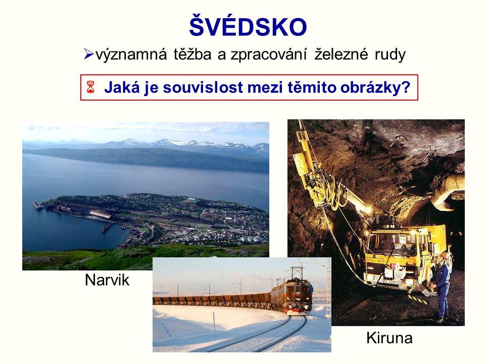 ŠVÉDSKO významná těžba a zpracování železné rudy
