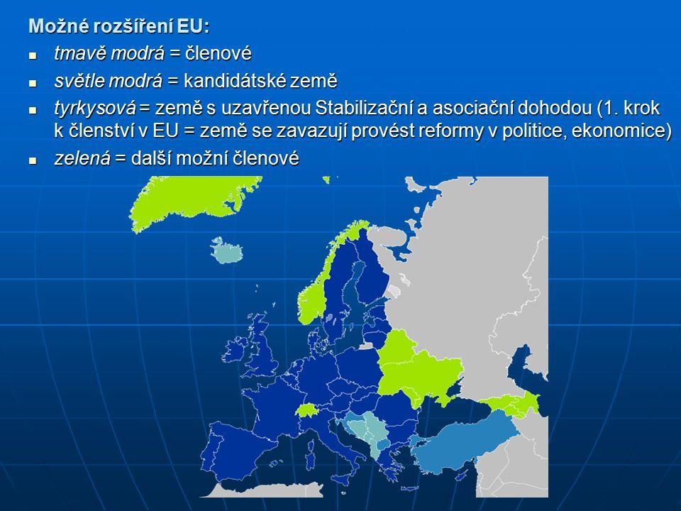 Možné rozšíření EU: tmavě modrá = členové světle modrá = kandidátské země
