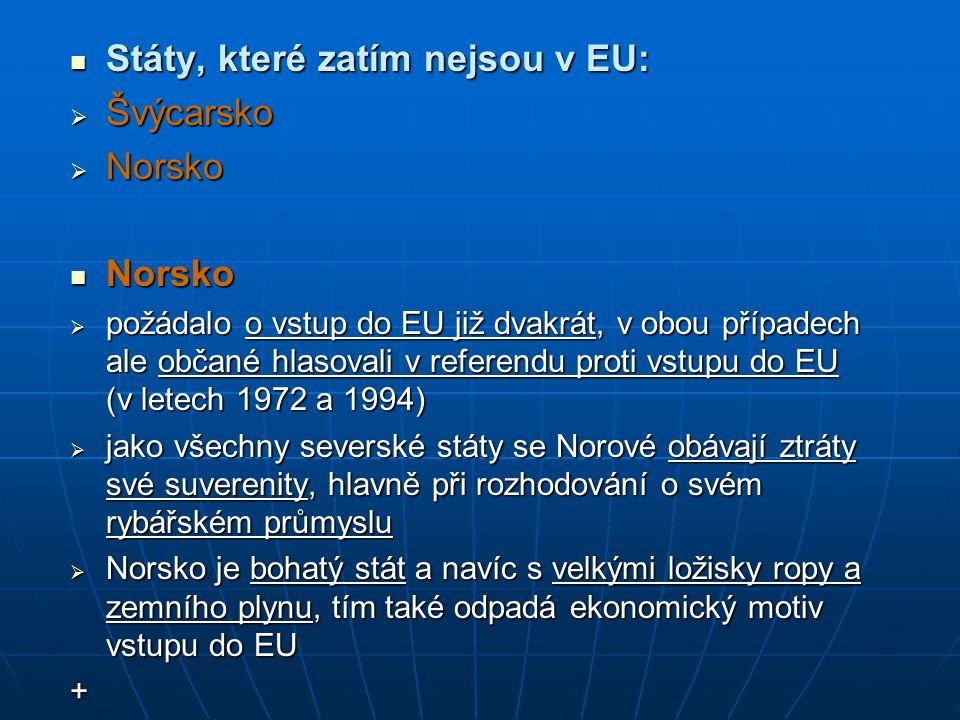 Státy, které zatím nejsou v EU: Švýcarsko Norsko