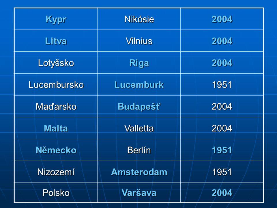 Kypr Nikósie. 2004. Litva. Vilnius. Lotyšsko. Riga. Lucembursko. Lucemburk. 1951. Maďarsko.
