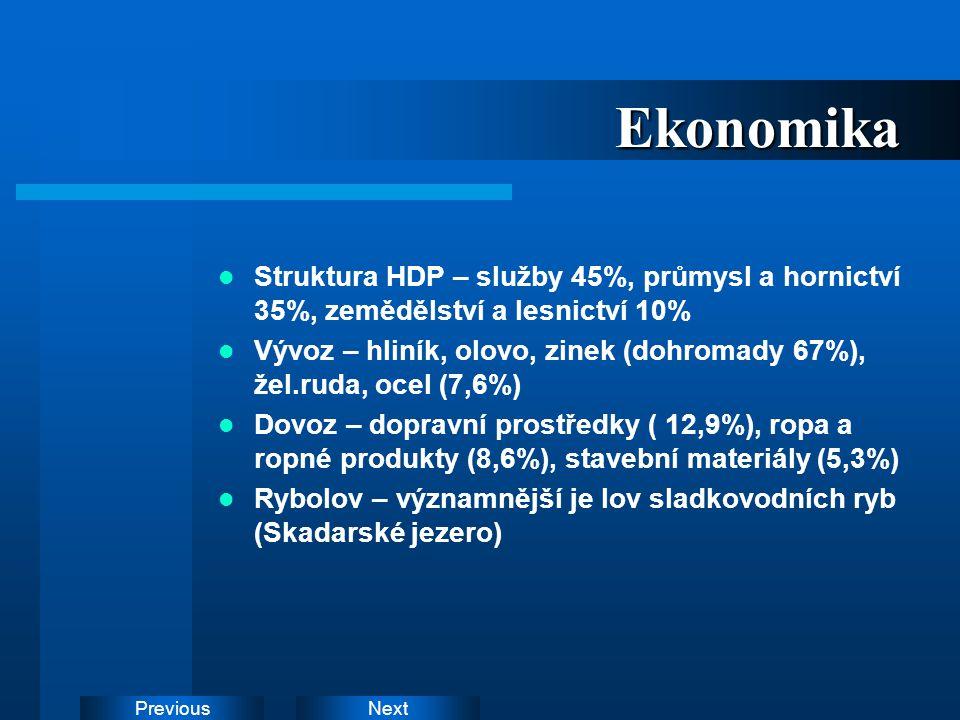 Ekonomika Struktura HDP – služby 45%, průmysl a hornictví 35%, zemědělství a lesnictví 10%