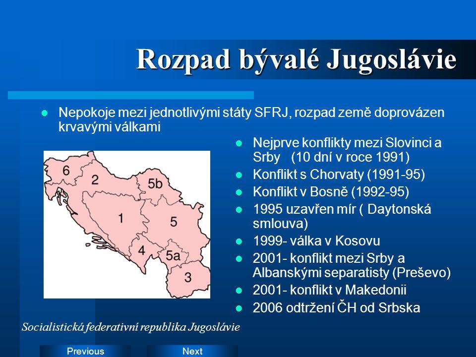 Rozpad bývalé Jugoslávie
