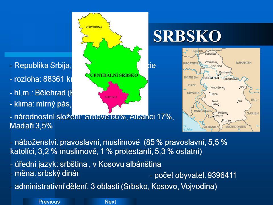 SRBSKO - Republika Srbija; parlamentní demokracie - rozloha: 88361 km2