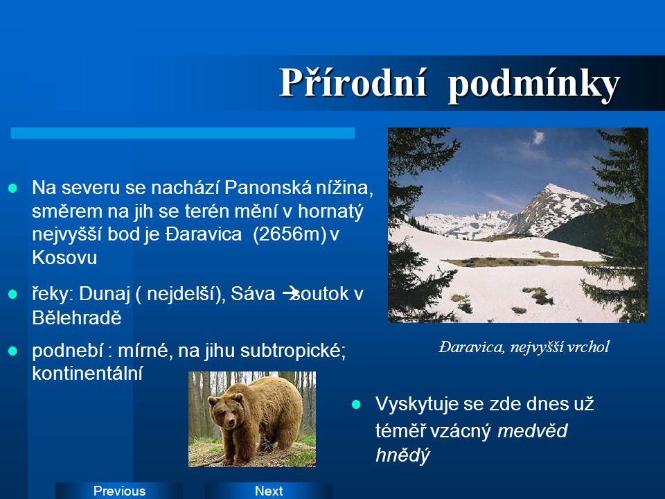 Přírodní podmínky Na severu se nachází Panonská nížina, směrem na jih se terén mění v hornatý nejvyšší bod je Đaravica (2656m) v Kosovu.