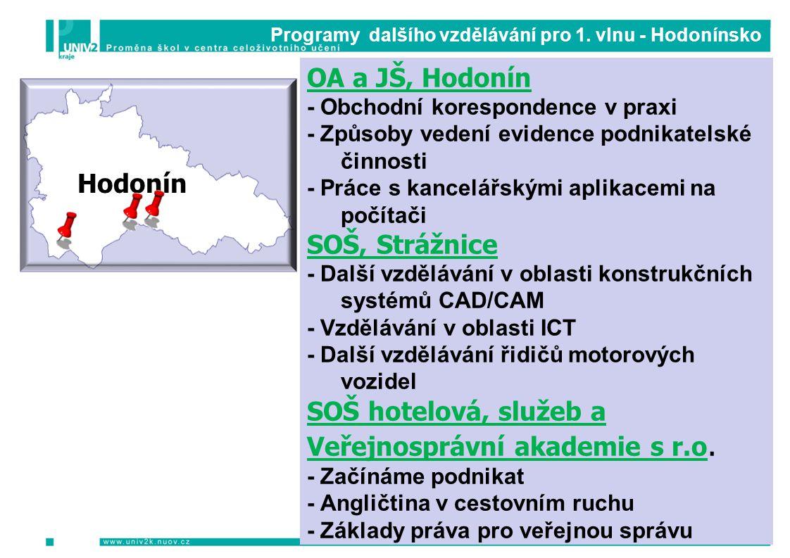 Programy dalšího vzdělávání pro 1. vlnu - Hodonínsko