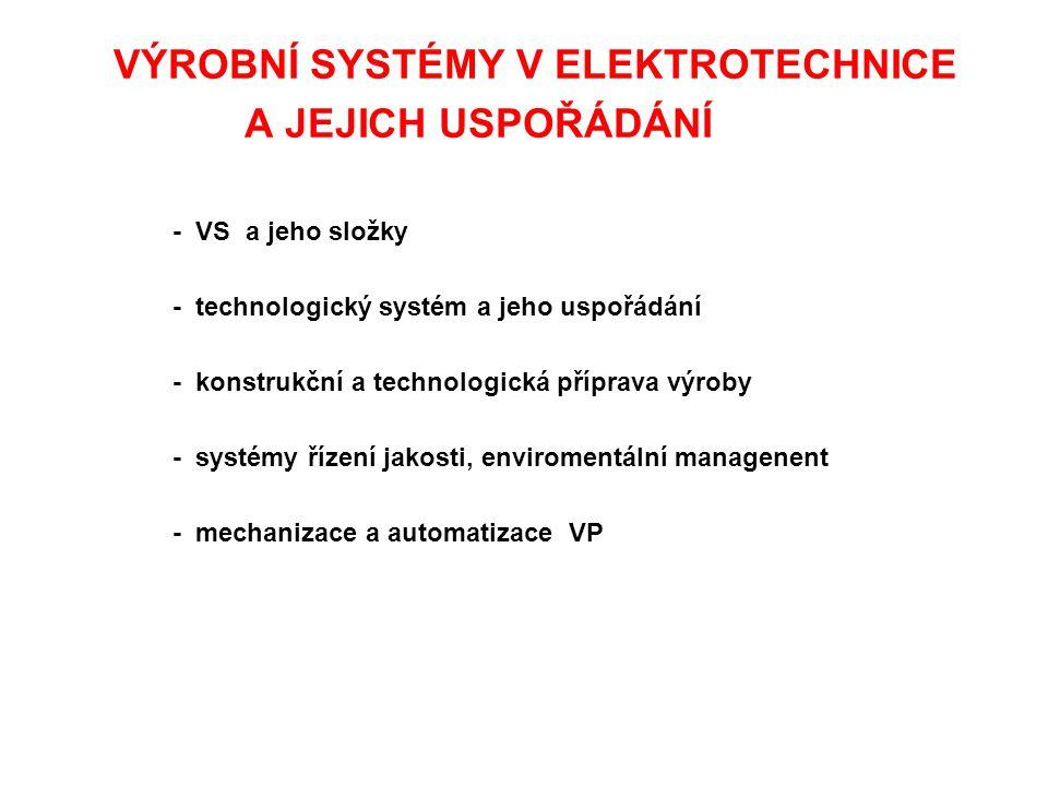 A JEJICH USPOŘÁDÁNÍ - technologický systém a jeho uspořádání