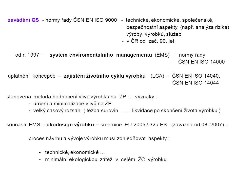 zavádění QS - normy řady ČSN EN ISO 9000 - technické, ekonomické, společenské,