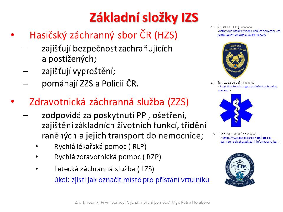 ZA, 1. ročník První pomoc, Význam první pomoci/ Mgr. Petra Holubová