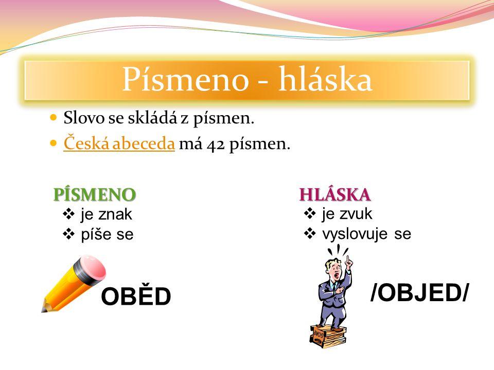 Písmeno - hláska /OBJED/ OBĚD Slovo se skládá z písmen.