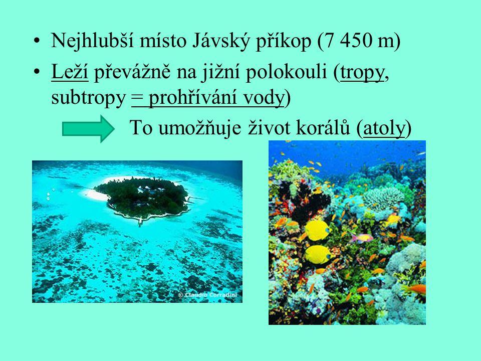 Nejhlubší místo Jávský příkop (7 450 m)