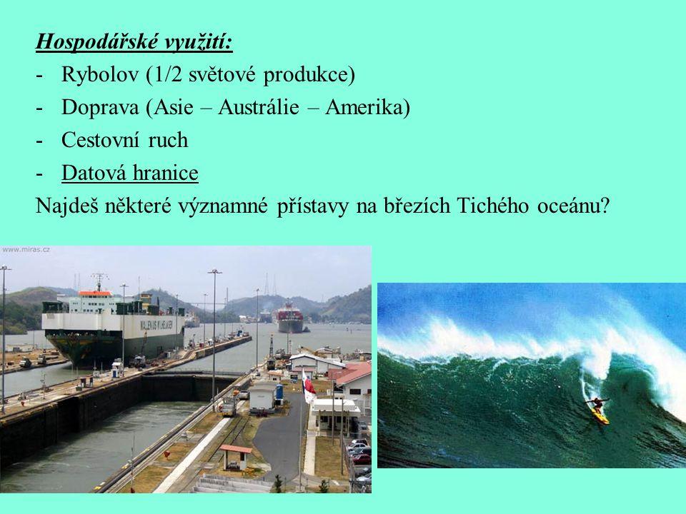 Hospodářské využití: Rybolov (1/2 světové produkce) Doprava (Asie – Austrálie – Amerika) Cestovní ruch.