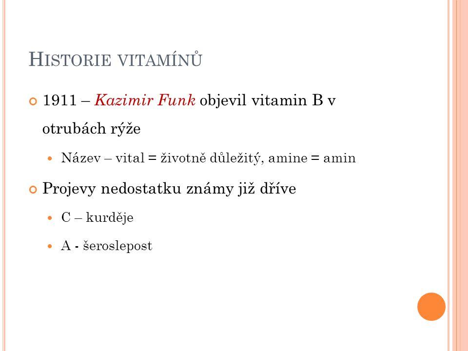 Historie vitamínů 1911 – Kazimir Funk objevil vitamin B v otrubách rýže. Název – vital = životně důležitý, amine = amin.