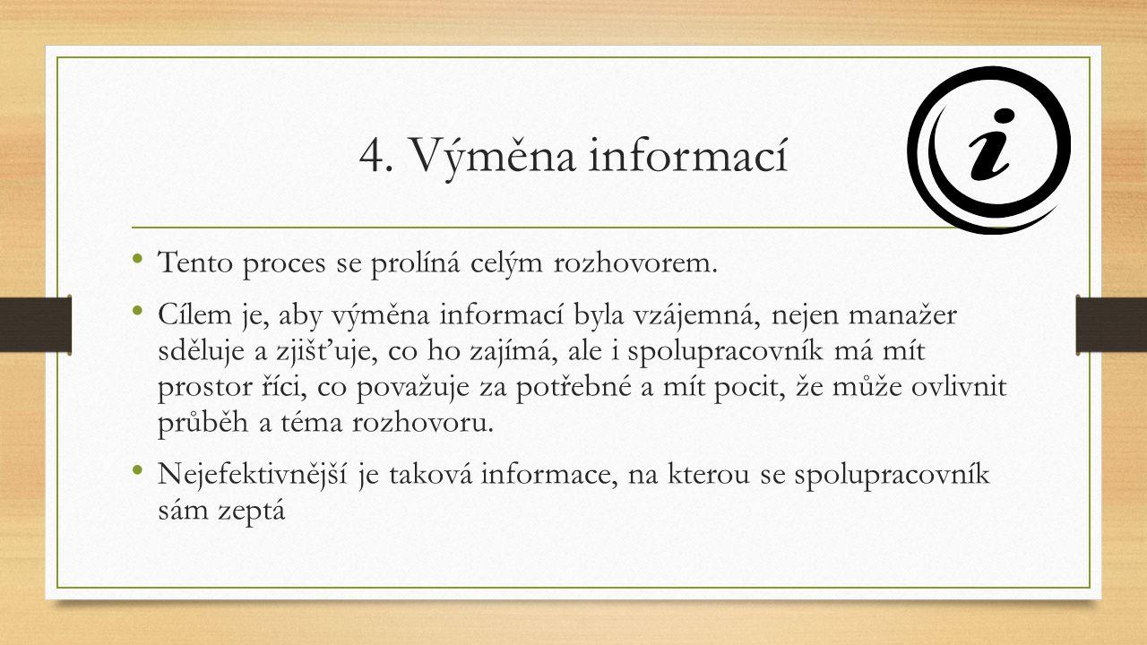 4. Výměna informací Tento proces se prolíná celým rozhovorem.