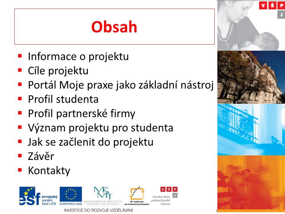 Obsah Informace o projektu Cíle projektu