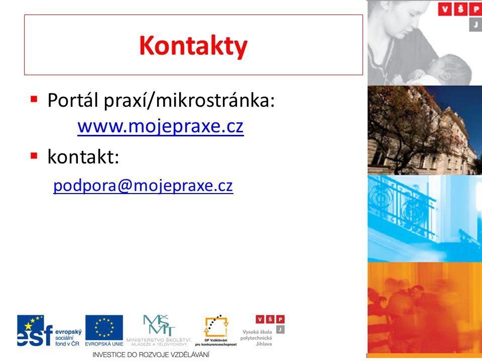 Kontakty Portál praxí/mikrostránka: www.mojepraxe.cz kontakt: