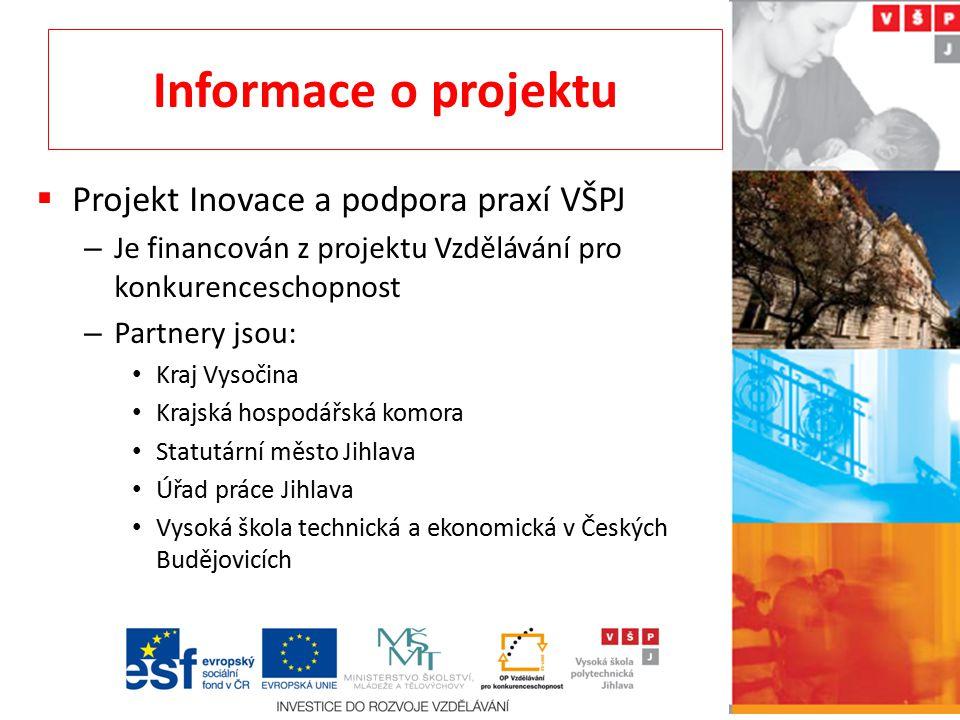 Informace o projektu Projekt Inovace a podpora praxí VŠPJ