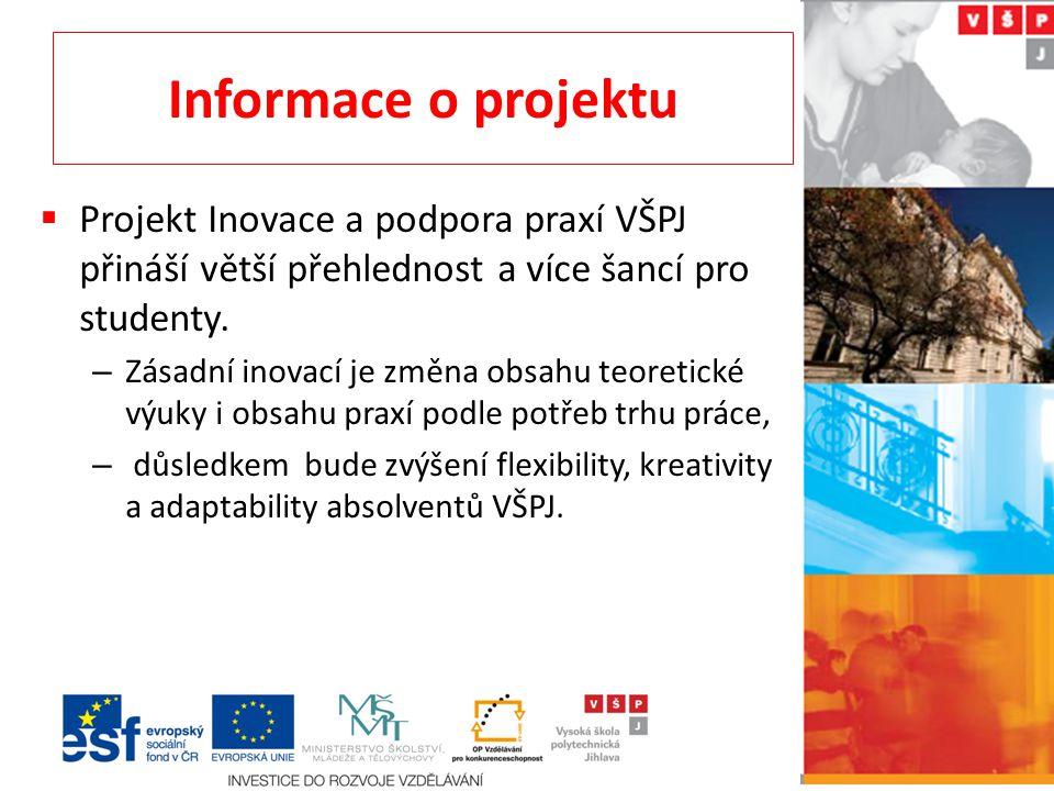 Informace o projektu Projekt Inovace a podpora praxí VŠPJ přináší větší přehlednost a více šancí pro studenty.