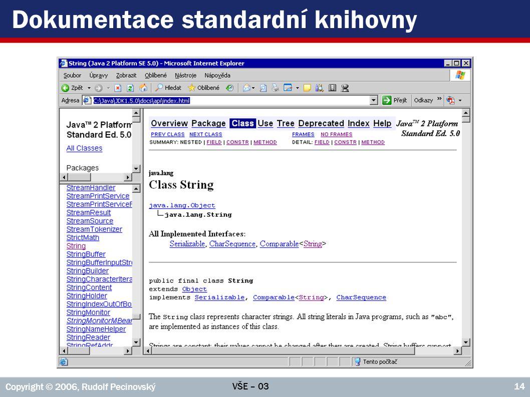 Dokumentace standardní knihovny