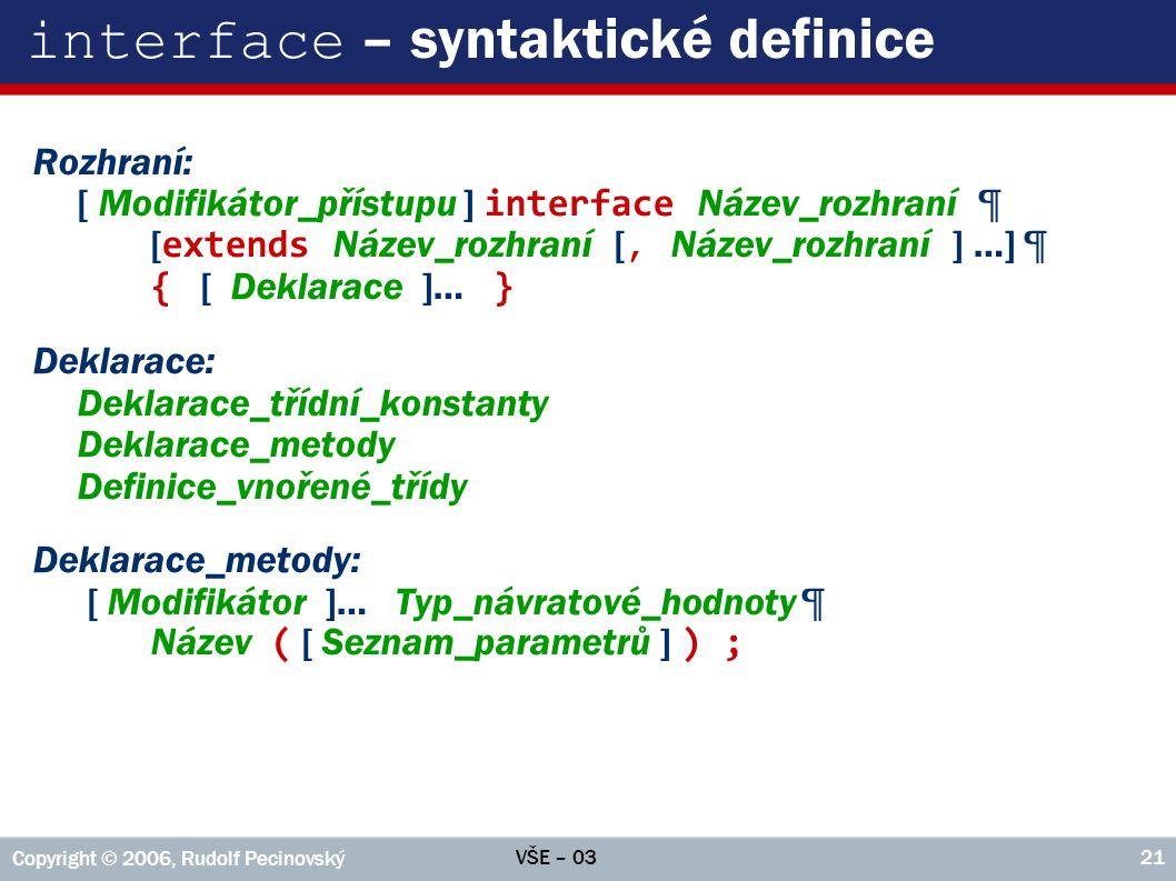 interface – syntaktické definice