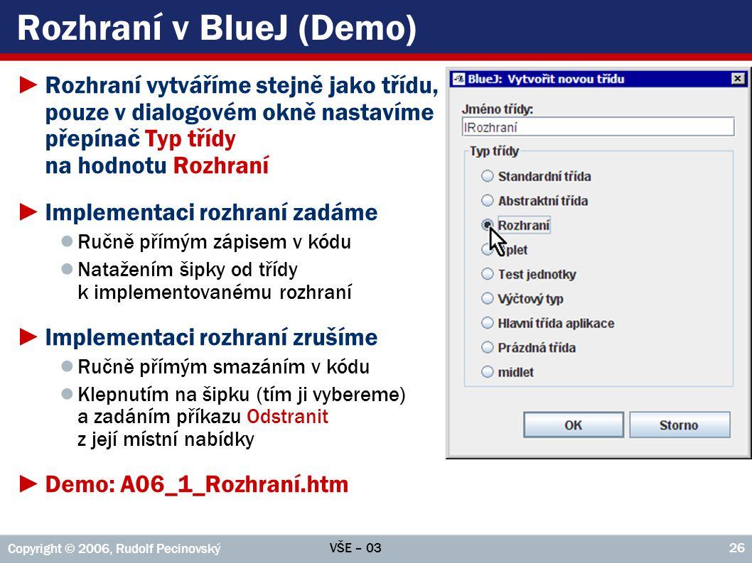 Rozhraní v BlueJ (Demo)