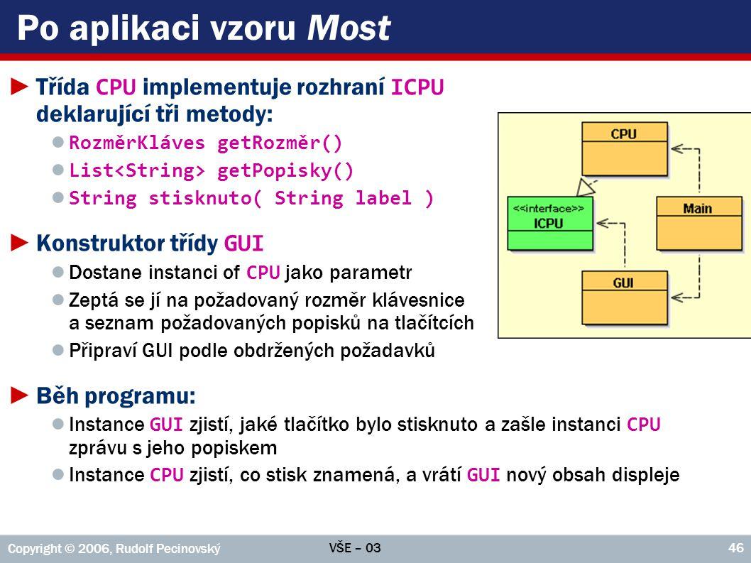 Po aplikaci vzoru Most Třída CPU implementuje rozhraní ICPU deklarující tři metody: RozměrKláves getRozměr()