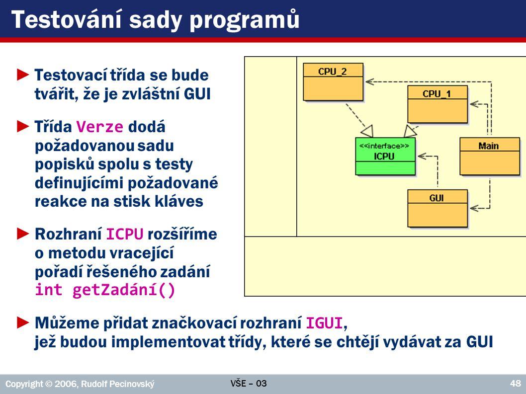 Testování sady programů
