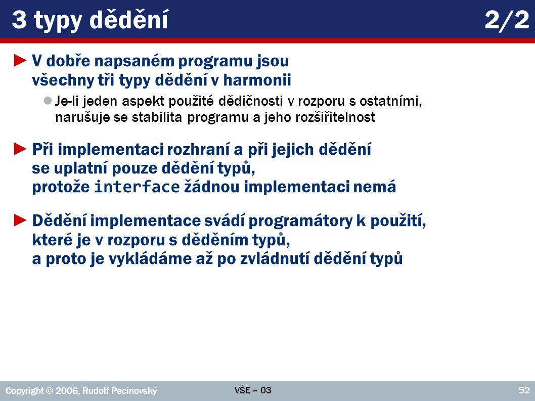 3 typy dědění 2/2 V dobře napsaném programu jsou všechny tři typy dědění v harmonii.