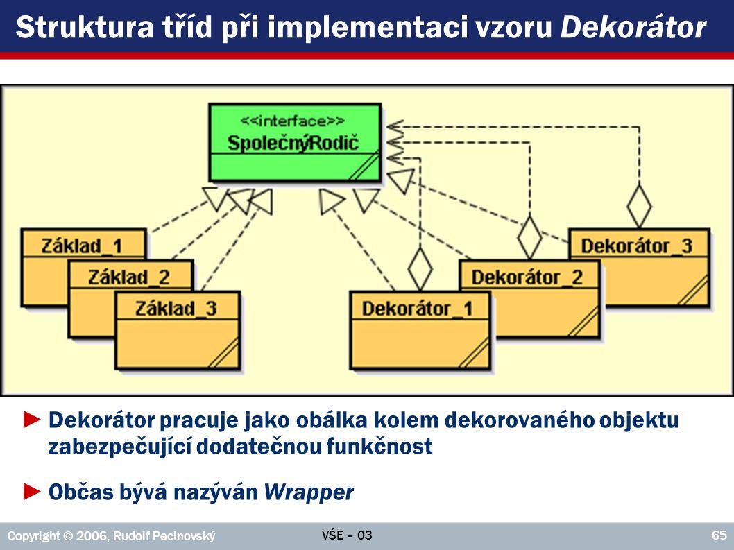 Struktura tříd při implementaci vzoru Dekorátor
