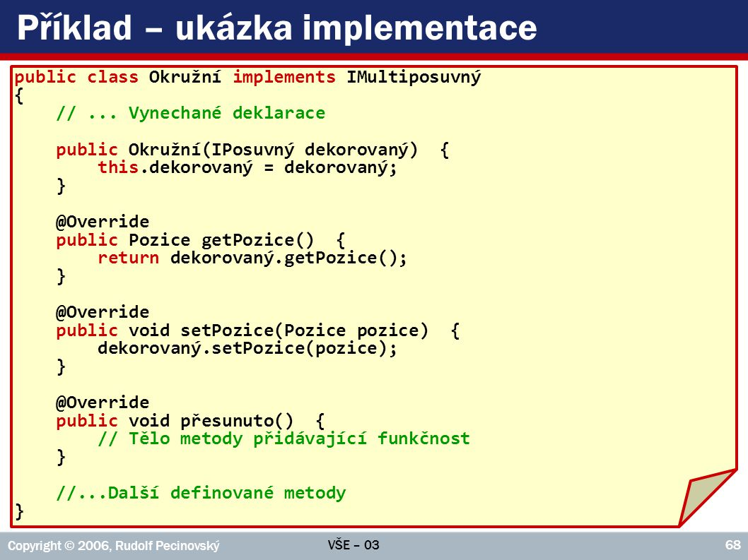 Příklad – ukázka implementace