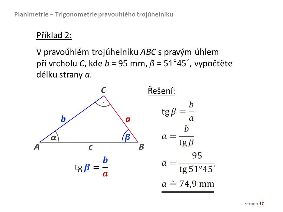 V pravoúhlém trojúhelníku ABC s pravým úhlem